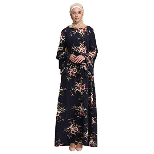 Women's Casual Maxi Dress, Ladies Abaya Islamic Floral Printed Bell Sleeve Ethnic Lace Muslim Dress with Belt