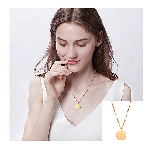 (WLL Double Gold Layered Chain Necklace Simple Disc Round Sequin Coin Necklace Bridal Jewelry (Rose Gold 2))