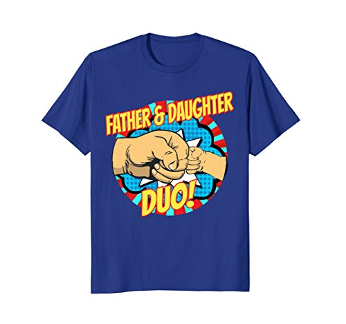 Mens Fathers Day Shirt Superhero Father Daughter Duo Dad Tee Medium Royal Blue for $<!--$19.99-->