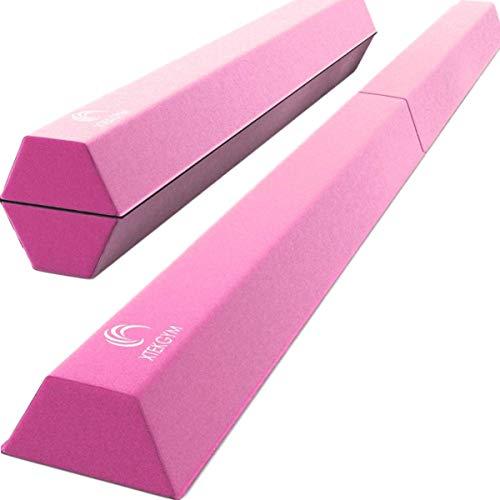 XTEK Gym 8ft Pro Foldable Balance Beam, Extra Long Floor Gymnastics Beam | Lightweight, Heavy Duty Foam | Home Training Gymnastics Equipment for Kids Adults (Pink)