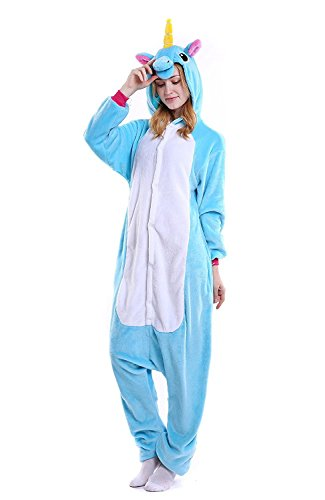 Juxy Couture Adult Unisex Teal Unicorn Ultra Soft Comfy Plush One Piece Pajama Costume for Halloween and Christmas (Size: -