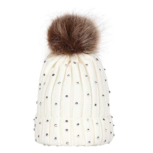 TWGONE Children Knit Cap Baby Rhinestone Keep Warm Winter Fur Ball Knitted Wool Hemming Hat(One Size,White)