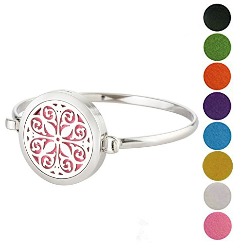 Women's 316L Aromatherapy Essential Oil Diffuser Bracelet Stainless Steel Locket Bangle with Pads by - Mall The Dolphin Is Where