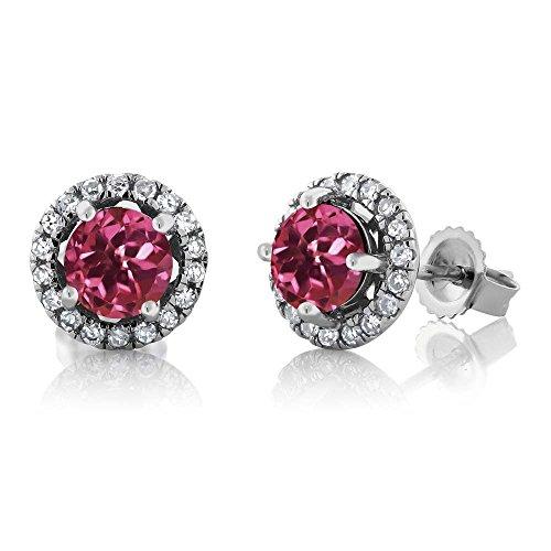 Gem Stone King 14K White Gold Diamond Halo Earrings set with 1.18 CTTW Round Pink Tourmaline