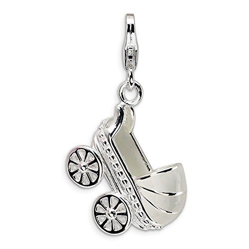 (Sterling Silver 3-D Enameled Baby Carriage w/Lobster Clasp Charm )