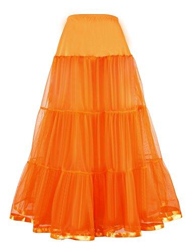Shimaly Women's Floor Length Wedding Petticoat Long Underskirt for Formal Dress (XL-3XL, Orange) -