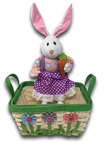 Spring Easter Handled Wicker Basket with 3D Spring Flower Ac