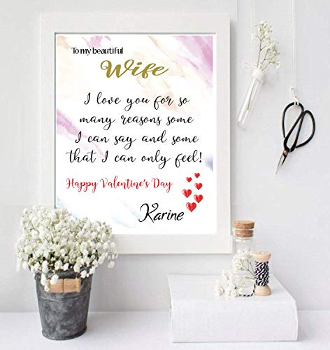 Custom customized 8x10 canvas Valentine day quotes for wife Custom Name