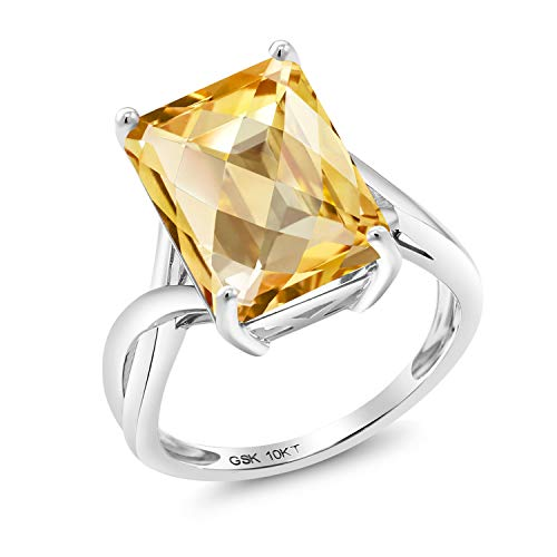 Gem Stone King 6.76 Ct Octagon Checkerboard Yellow Citrine 10K White Gold Ring (Size ()