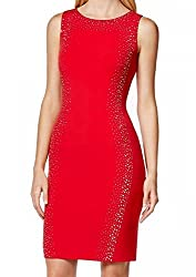 Calvin Klein Womens Petites Embellished Sleeveless Cocktail Dress Red 8P