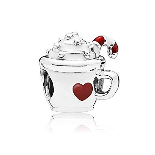 Romántico Amor Warm Cocoa Charm White & Red Enamel 925 Sterling Silver Bead fit Pandora Bracelets