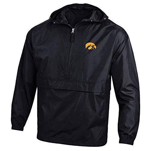 Go Hawks - Champion NCAA Iowa Hawkeyes Men's Pack & Go Jacket, X-Large, Black