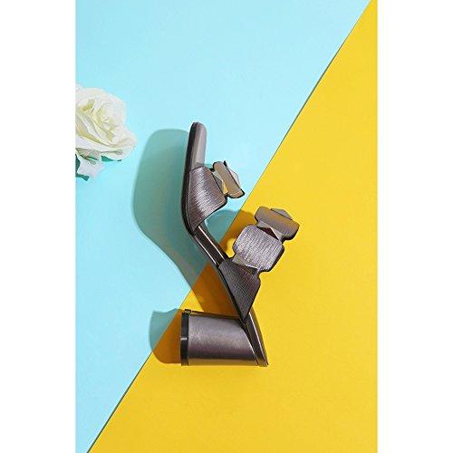 Chanclas Elemento Tacón KJJDE de Moda con Mujeres Zapatos Grey Zapatos Remache Peep Plataforma de Caminar WSXY Toe Para Zapatilla Mujer Confort Sandalias L0510 Creativo qwYOqr