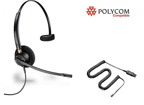 Polycom Compatible Plantronics Noise Canceling HW510 EncorePro 510 Headset Bundle for SoundPoint: IP 300 335 450 501 550 560 600 650 670 | VVX 300 310 400 410 500 600 1500 | CX 300 600 700