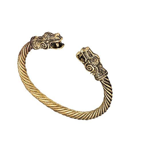 Classic Viking Dragon Head Screw Cuff Bangle Wristband Bracelet Jewelry (Antique (Viking Outfit Girl)