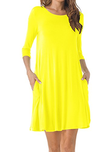 TINYHI Women's O-Neck 3/4 Sleeves Tunic Pocket Loose Casual Swing Tshirt Dress(Yellow,Large)