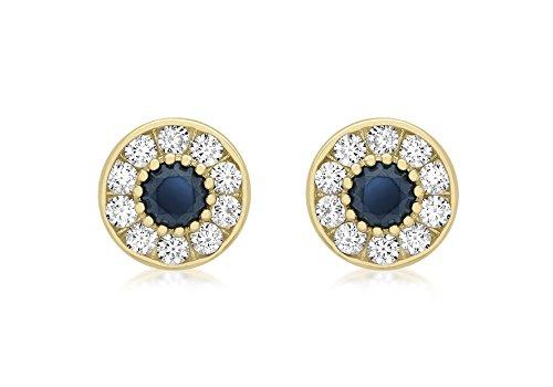 Boucles d'oreilles clous or jaune 9carats et pierre bleu blanc 9mm