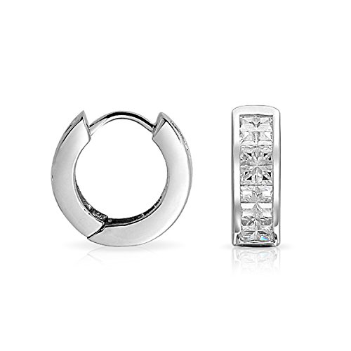 Invisible Cut Channel Set CZ Checkboard Cubic Zirconia Huggie Hoop Earrings For Women For Men 925 Sterling - Invisible Mens Set