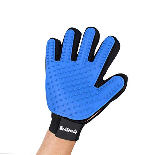 WestBeverly Pet Grooming Glove Five Finger Right Hand Perfect for Long and Short Hair Massaging and Pet Hair Remover