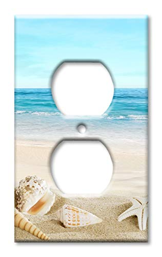 Art Plates Duplex Outlet Cover Wall Plate - Seashells on the Beach (Nautical Switch Plate)