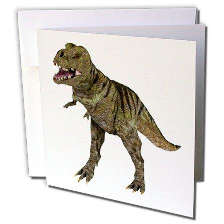 Attacking Set (3dRose A Tyrannosaurus Rex Dinosaur Attacking - Greeting Cards, 6 x 6