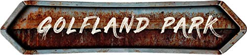"Any and All Graphics GOLFLAND Park 4""x18"" Painted Lettering Look Rusted Double Point Style Antique Vintage Look Composite Aluminum Novelty décor Sign."