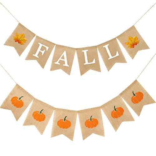Whaline Autumn Fall Pumpkin Maple Leaves Burlap Banner Harvest Home Decor Bunting Flag Garland Fireplace Party Thanksgiving Day Decoration