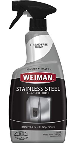 Weiman Stainless Steel Cleaner and Polish - Streak-Free Shine for Refrigerators, Dishwasher, Sinks, Range Hoods and BBQ grills - 22 fl. oz. ()