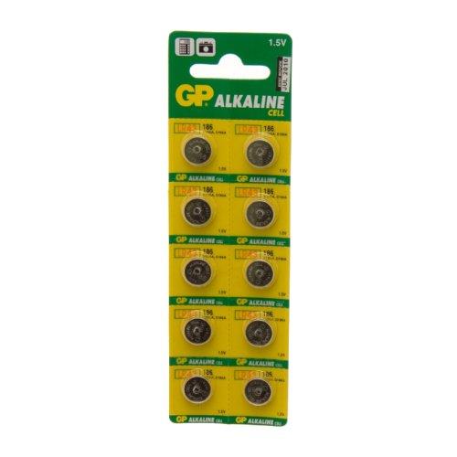 GP Batteries GP186–C10 Lot de 10 piles bouton alcalines piles Carte 1
