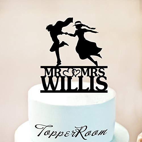 Howl'S Moving Castle Cake Topper,Howl And Sophie Cake Topper,Wedding Cake Topper,Unique Cake Topper,Custom Cake Topper,Mr And Mrs 1