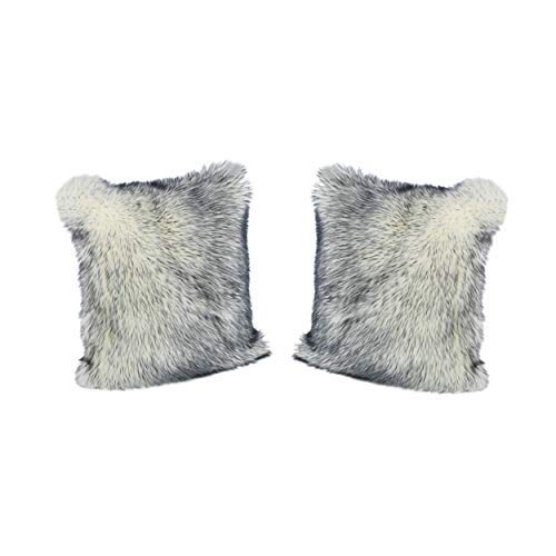 Christopher Knight Home Janet Glam Faux Fur Long Hair Pillow Cover Only (Set of 2), Navy and White [並行輸入品] B07R834VXD
