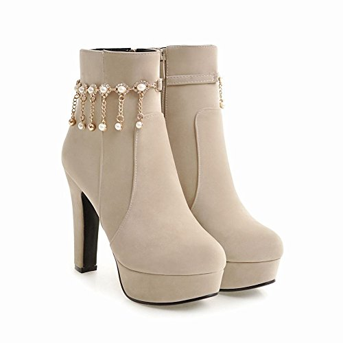 Mee Shoes Damen Plateau Nubukelder high heels Stiefel Beige