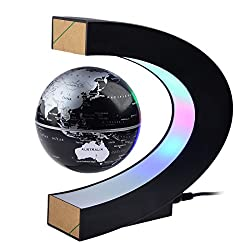 Petforu Magnetic Levitation, High Rotation C Shape Magnetic Suspension Maglev Levitation Globe with LED Lights for Learning Education Teaching Demo Home Office Desk Decoration(US Plug) - Black