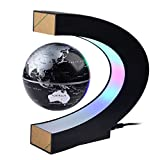Magnetic Levitation,Petforu,High Rotation C Shape Magnetic Suspension Maglev Levitation Globe with LED Lights for Learning Education Teaching Demo Home Office Desk Decoration(US Plug) - Black