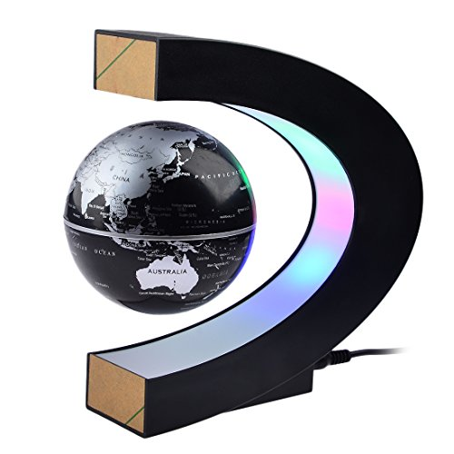 Craft Tech Sculpture Series - Petforu Magnetic Levitation, High Rotation C Shape Magnetic Suspension Maglev Levitation Globe with LED Lights for Learning Education Teaching Demo Home Office Desk Decoration(US Plug) - Black