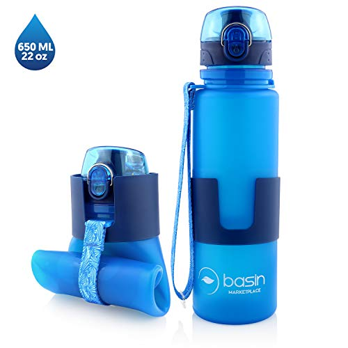 Collapsible Water Bottle, Reusable 22 oz. BPA Free Food Grade Silicone Water Bottle, Portable Lightweight Foldable Water Bottle Travel, for Sports, Camping, Hiking Bottle, Travel Water Bottle