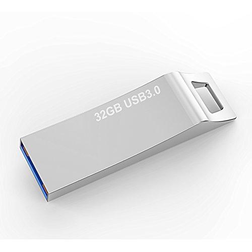 RAOYI 32GB USB 3.0 Flash Drive Waterproof Thumb Drive Metal Memory Stick High Speed Jump Drive, Silver