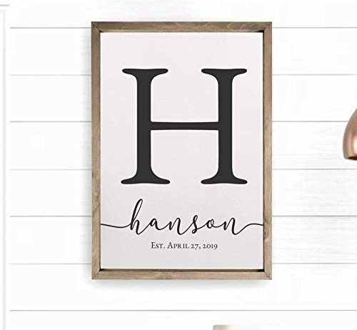 Framed Wooden Family Name Sign Personalized Wood Monogram 12x18 ()