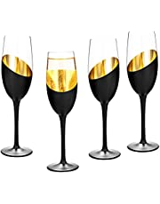 MyGift Modern Stemmed Champagne Flutes 8 oz Black and Gold Plated Party and Wedding Drinking Glasses, Set of 4