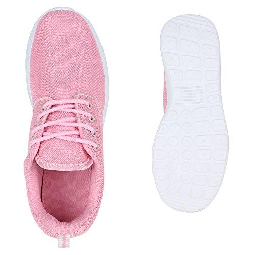 Stiefelparadies Damen Sportschuhe Muster Laufschuhe Runners Sneakers Schuhe Strass Metallic Flandell Rosa Pink