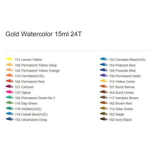 Premium Watercolour Paint Alpha Gold label Set 24 Colours 15ml 0.50oz Tube