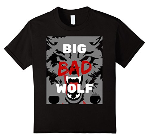 Big Bad Wolf Costume Child (Kids Big Bad Wolf Paw Blood & Teeth Distressed T-Shirt 10 Black)
