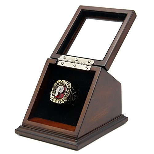 Rare & Collectible Replica AMERICAN BASEBALL (MLLB) CHAMPIONSHIP RINGS FROM 1967 TILL NOW WITH SLANTED GLASS WINDOW DISPLAY CASE BOX - SIZE 11 (1980, 11)
