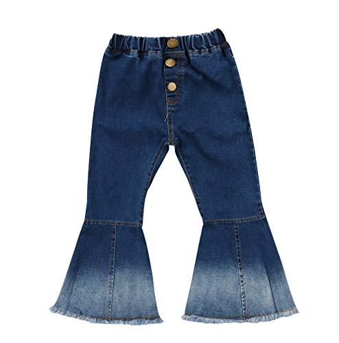 (Toddler Little Kid Girls Denim Jeans Bell Bottom Flare Pants Leggings Trousers (4-5Y, Blue))