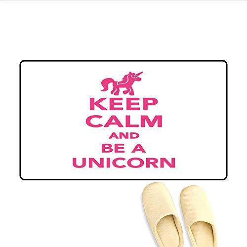 Doormat Keep Calm and Be a Unicorn Text with Magical Mythological Fairytale Pony Animal Bath Mat for Tub Bathroom Mat Pink White 24