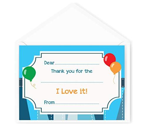 Birthday Thank You Cards (20 Flat Cards and Envelopes) Boys