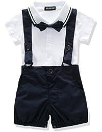 US Baby Boys Bowtie Gentleman Romper Jumpsuit Overalls...