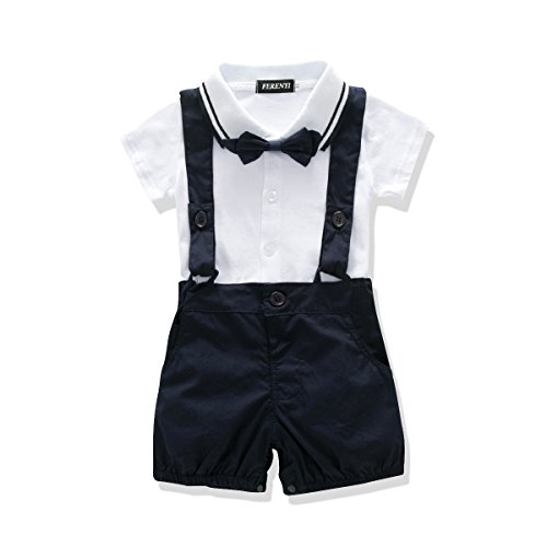 (FERENYI US Baby Boys Bowtie Gentleman Romper Jumpsuit Overalls Rompers (7-12 Months, Navy Blue 7))