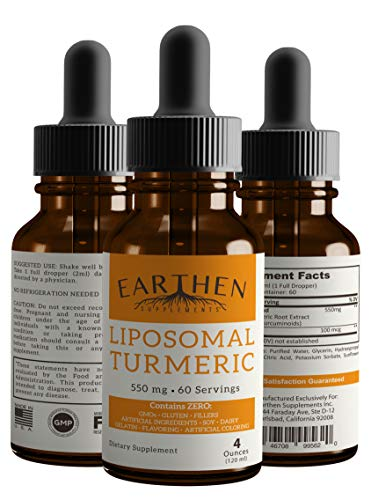 100% Organic Pure Turmeric Curcumin Liquid Drops- Liposomal Turmeric Best Absorption, Highest Potency, Natural Joint Pain & Inflammation Relief Support, Made in USA (4 oz)