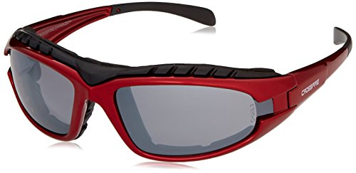 Crossfire Safety Glasses Diamondback Silver Mirror Lens Shiny Red Frame Foam Lined